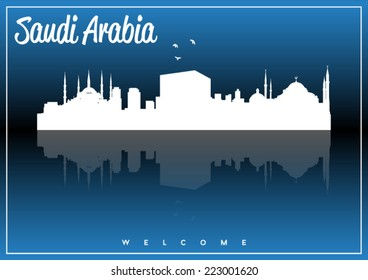 Saudi Arabia, skyline silhouette vector design on parliament blue and black background.