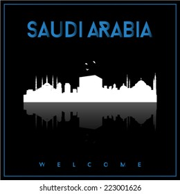 Saudi Arabia, skyline silhouette vector design on parliament blue and black background.