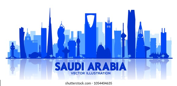 Saudi Arabia skyline silhouette.Vector Illustration. Business travel and tourism concept with modern buildings. Image for banner or web site.