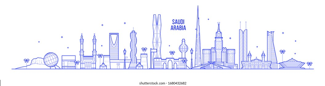 Saudi Arabia skyline. This illustration represents the country with its most notable buildings. Vector is fully editable, every object is holistic and movable