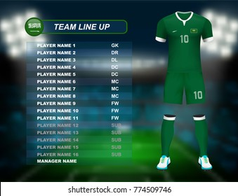 Saudi Arabia soccer jersey kit with team line up board on soccer stadium and crowd fan with spot light backdrop on night time. Concept for Asian football match result background in vector illustrative