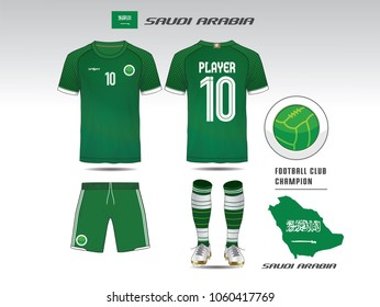 Saudi arabia soccer jersey or team apparel template. Mock up Football uniform for football club. Green and White layout football sport t-shirt design. Vector Illustration design.