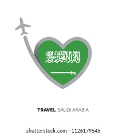 Saudi Arabia travel concept. Heart shape flag with airplane