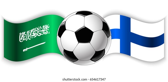 38b0ea6e2 Saudi Arabian and Finnish wavy flags with football ball. Saudi Arabia  combined with Finland isolated