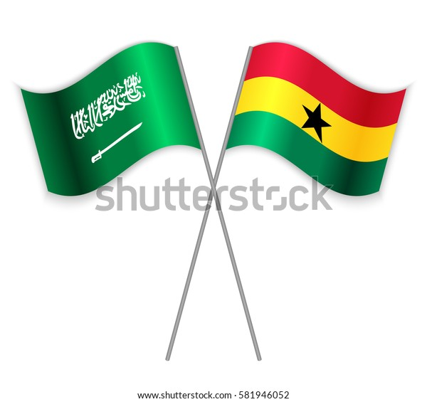 Saudi Arabian and Ghanaian crossed flags. Saudi Arabia combined with Ghana isolated on white. Language learning, international business or travel concept.