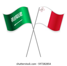 Saudi Arabian and Maltese crossed flags. Saudi Arabia combined with Malta isolated on white. Language learning, international business or travel concept.