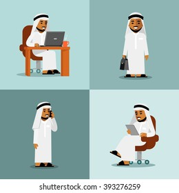 Saudi arabic businessman concept set. Young saudi arabic man in computer, tablet pc and smartphone business internet working