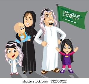 Saudi family with flag