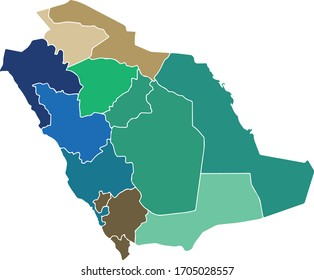 saudi map whit colors vector