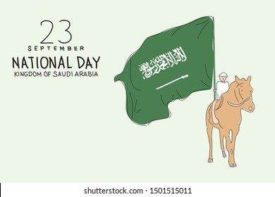 Saudi national day on 23 september. A man holding a flag while riding a horse concept illustration. Hand drawn style vector design illustrations