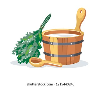 Sauna bathhouse objects oak birch broom, pot,  wooden bucket