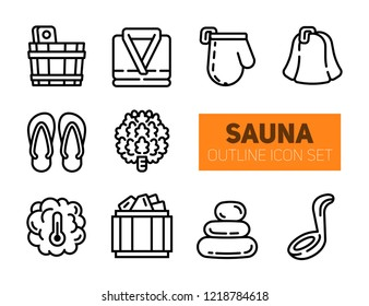 Sauna and bathhouse outline icons set. Vector collection of 10 isolated elements 100x100px. Modern bold stroke pictogram of hat, glove, bathrobe, bucket, steam, temperature, stones and slippers.