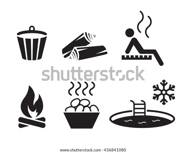 Sauna set: simple, black icons on a white background