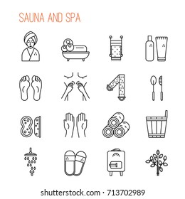 Sauna and spa line icons.Towel, oven, broom, sneakers, washcloth, shower. Linear style. Minimalism.