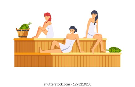 Sauna and spa procedures by women isolated vector. Relaxation body care and therapy, aromatherapy and wellness. Hygiene and regeneration with warm water and steam, people sitting on wooden bench