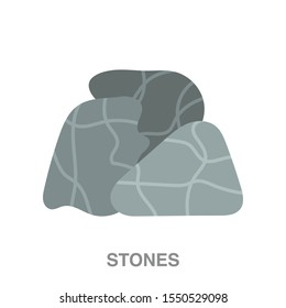 Sauna stones flat icon on white transparent background. You can be used sauna stone icon for several purposes.
