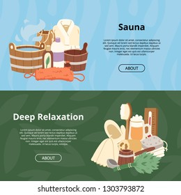 Sauna vector wooden heat spa relaxation therapy and hot steam healthcare backdrop relax therapy sign bucket bath towel illustration relax aromatherapy set background