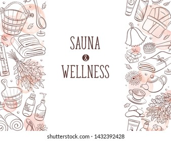 Sauna and wellness. Sauna accessories sketches in vertical line composition. Hand drawn spa items collection. Doodle sauna objects isolated on white background.