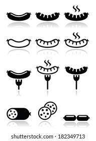 Sausage, grilled or with for icons set