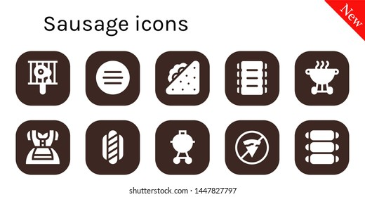 sausage icon set. 10 filled sausage icons.  Simple modern icons about  - Bbq, Meat, Sandwich, Ribs, Dirndl, Hot dog, Barbecue, No fast food