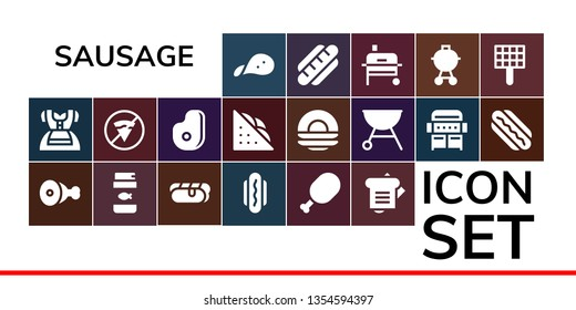 sausage icon set. 19 filled sausage icons.  Simple modern icons about  - Snack, Dirndl, Meat, Fish food, Hot dog, Sandwich, No fast food, Dish, Grill, Hotdog, Barbecue