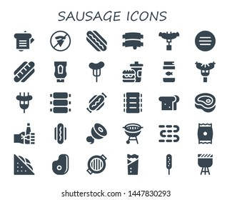 sausage icon set. 30 filled sausage icons.  Collection Of - Sandwich, No fast food, Hotdog, Ribs, Sausage, Meat, Hot dog, Ketchup, Fast food, Fish food, Oktoberfest, Bbq, Sausages