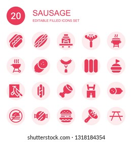 sausage icon set. Collection of 20 filled sausage icons included Sausage, Hotdog, Barbecue, Grill, Sausages, Hamburguer, Chop, Ham leg, Lederhosen, Cold meat, No fast food, Barbecue grill