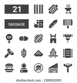 sausage icon set. Collection of 21 filled sausage icons included Sausage, Sandwich, No fast food, Dish, Hamburguer, Ribs, Barbecue, Hotdog, Lederhosen, Grill, Cold meat, Breakfast
