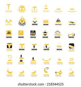 Sausage Icons Set - Isolated On White Background - Vector Illustration, Graphic Design Editable For Your Design