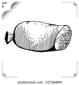 Sausage liver  cartoon illustration. Graphics  picture. Engraving style. Eps 8