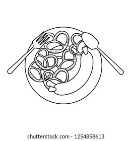 Sausage and pretzel on dish with cutlery in black and white