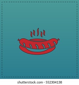 Sausage Red vector icon with black contour line. Flat computer symbol on blue background