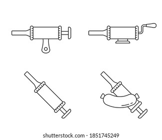 Sausage stuffer. Linear icons set. Black simple illustration of filling machine or manual syringe for cooking homemade meat food. Contour isolated vector pictogram on white background