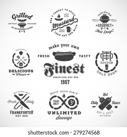 Sausage Vintage Typography Labels and Design Elements Such as Grill, Knife, Fire, Beer, etc. Isolated.