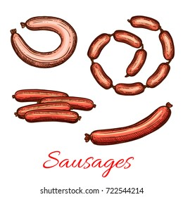 Sausages bunches icons. Vector sketch set of meat sausage sorts for butchery shop delicatessen of pork chorizo, lyon or chipolata roll with kielbasa or pepperoni and frankfurter bacon bratwurst