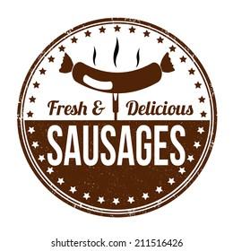 Sausages grunge rubber stamp on white background, vector illustration