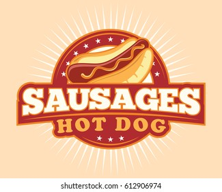 sausages hotdog illustration logo
