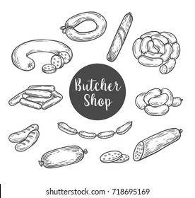 Sausages and kielbasa, wurst sketch for butcher shop . Ham salami and lyon sausage bundle or curry wursts. farm market, beef steak, gourmet products theme