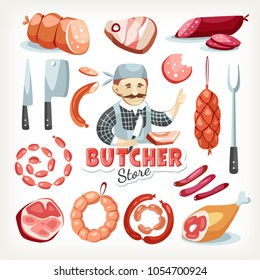 Sausages meat butcher store grocery market food