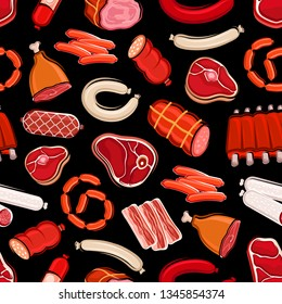 Sausages and meat seamless pattern. Vector butchery shop food, beef and pork, salami and tenderloin, fillet and pepperoni wursts. Chicken leg and frankfurters, steak and sirloin, mutton and steaks