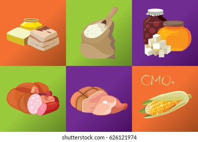 Sausages, smoked meats, simple carbohydrates, refractory fats, GMO, semolina