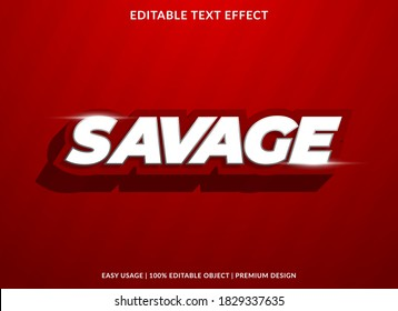 savage text effect template with bold and 3d style use for business logo and brand