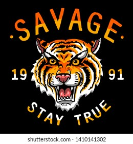 savage vector tiger head tee shirt illustration print graphic design