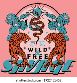 "Savage wild and free slogan vintage print design with tigers and snake illustration, Translation ; ""Tokyo"""