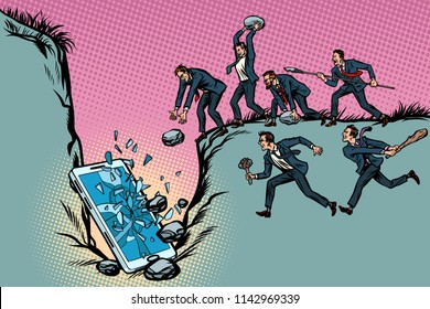 Savages businessmen kill a smartphone. Politics and censorship. People against technological progress. Pop art retro vector illustration kitsch vintage