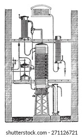 Savalle column, vintage engraved illustration. Industrial encyclopedia E.-O. Lami - 1875.