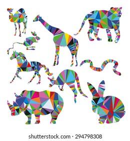Savannah animal set: jerboa, giraffe, snake, horse, goose, rhino, camel, kangaroo, tiger, rabbit