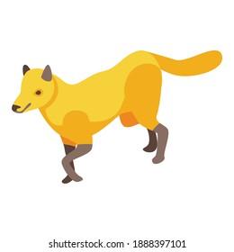 Icono de zorro de Savannah. Isométrico del icono vectorial del zorro de savana para el diseño web aislado en fondo blanco
