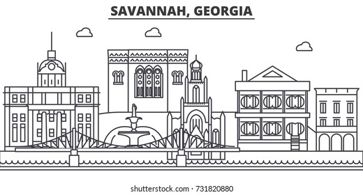 Savannah, Georgia architecture line skyline illustration. Linear vector cityscape with famous landmarks, city sights, design icons. Landscape wtih editable strokes