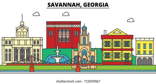 Savannah, Georgia. City skyline, architecture, buildings, streets, silhouette, landscape, panorama, landmarks, icons. Editable strokes. Flat design line vector illustration concept